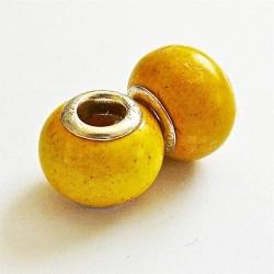 Perle en howlite gros trou jaune 14mm