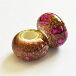 Perle synthétique gros trou marron 14mm