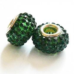 Perle shamballa gros trou strass vert 14mm