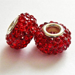 Perle shamballa gros trou strass rouge 14mm
