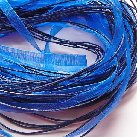 Tour de cou organza bleu foncé 3 cordons 45cm