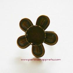 Bague rétro, ronde fleur en laiton 25mm ajustable réglable à décorer, perles et apprêts