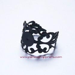 Bague gothique filigranée noire 8mm ajustable réglable à décorer, perles et apprêts