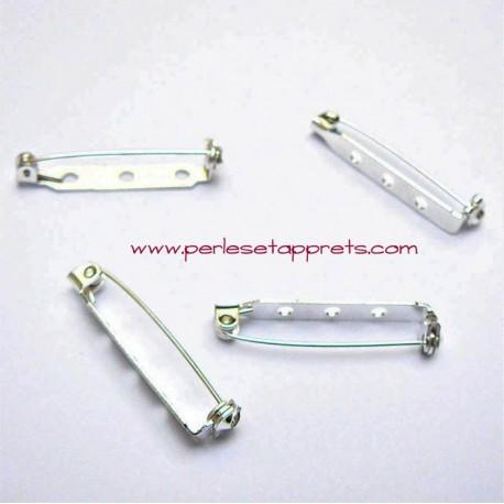 Lot 10 broches attaches en métal argenté 32mm à décorer pour bijoux perles et apprêts