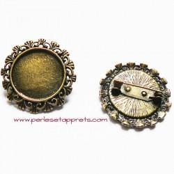 Broche rétro ronde en métal bronze laiton 3cm à décorer pour bijoux perles et apprêts