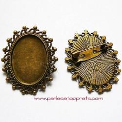 Broche rétro ovale en métal bronze laiton 35mm à décorer pour bijoux perles et apprêts