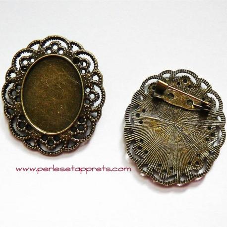 Broche rétro ovale en métal bronze laiton 4cm à décorer pour bijoux perles et apprêts