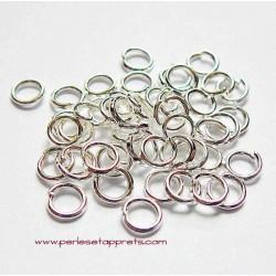 Lot 50 anneaux de jonction rond simple ouvert en métal argenté clair 4mm, perles et apprêts pour bijoux
