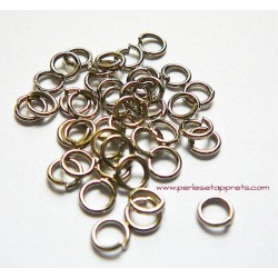 Lot 50 anneaux de jonction ouvert rond simple en métal argenté rhodié 5mm perles et apprêts pour bijoux