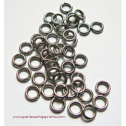Lot 50 anneaux de jonction rond simple ouvert en métal argenté rhodié 4mm perles et apprêts pour bijoux