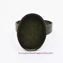Bague rétro, ajustable réglable ovale en métal bronze laiton 18mm, à décorer perles et apprêts