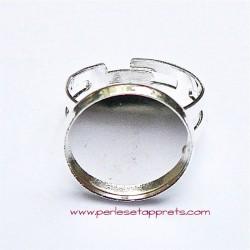 Bague ronde en métal argenté 16mm, réglable ajustable, à décorer perles et apprêts