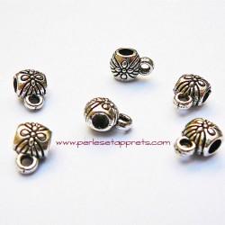 Lot 7 bélières en métal argenté 6mm pour bijoux perles et apprêts