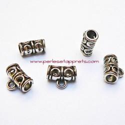 Bélière en métal argenté ciselé 11mm pour bijoux perles et apprêts