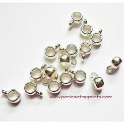 Lot 9 bélières en métal argenté 9mm pour bijoux perles et apprêts