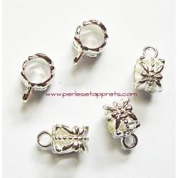 Lot 5 bélières ciselées en métal argenté clair 6mm pour bijoux perles et apprêts