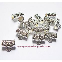 Lot 5 bélières en métal argenté clair ciselé 11mm pour bijoux perles et apprêts