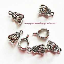 Lot 6 bélières ciselées en métal argenté gros trou 14mm pour bijoux perles et apprêts