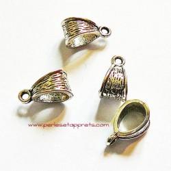 Lot 5 bélières en métal argenté 14mm gros trou pour bijoux perles et apprêts