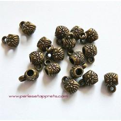Lot 5 bélières en métal bronze laiton 6mm pour bijoux perles et apprêts