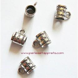 Lot 5 bélières en métal argenté 8mm gros trou pour bijoux perles et apprêts