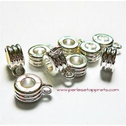 Lot 4 bélières en métal argenté 5mm gros trou pour bijoux perles et apprêts