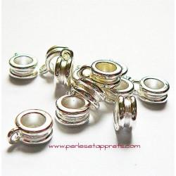 Lot 5 bélières rondes en métal argenté 4mm pour bijoux perles et apprêts