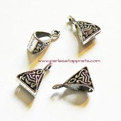 Lot 5 bélières en métal argenté gros trou 10mm pour bijoux perles et apprêts
