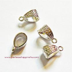 Bélière en métal argenté 15mm pour bijoux gros trou perles et apprêts