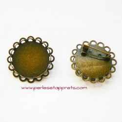 Broche ronde 25mm en métal couleur bronze