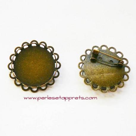 Broche rétro ronde en métal bronze laiton 25mm à décorer pour bijoux perles et apprêts