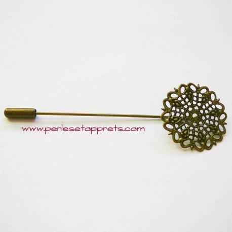 Broche fibule rétro estampe ronde en filigrane en métal bronze laiton 25mm à décorer pour bijoux perles et apprêts