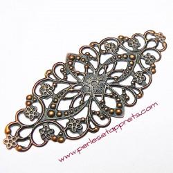 Lot 5 estampes ovales en filigrane en métal bronze cuivre laiton 8cm, pour bijoux, meubles, perles et apprêts