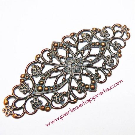 Lot 5 estampes ovales en filigrane en métal bronze 8cm, pour bijoux, meubles, perles et apprêts
