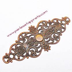 Lot 6 estampes ovales 6cm en filigrane métal couleur bronze cuivre