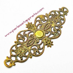 Estampe ovale en filigrane en métal bronze laiton 6cm pour bijoux, meubles, perles et apprêts