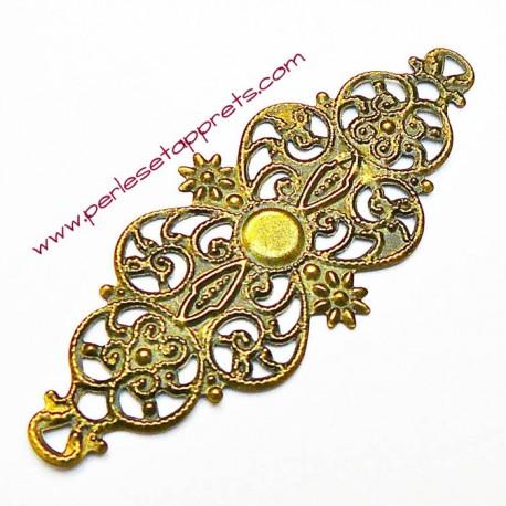 Estampe ovale en filigrane en métal laiton 6cm pour bijoux, meubles, perles et apprêts