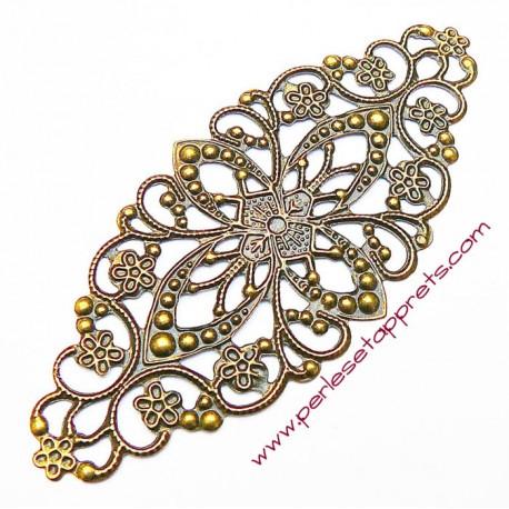 Lot 5 estampes ovales en filigrane en métal laiton 8cm pour bijoux, meubles, perles et apprêts
