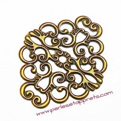 Lot 6 estampes ovales en filigrane en métal laiton 4cm pour bijoux perles et apprêts