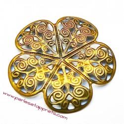 Lot 5 estampes rondes en filigrane en métal bronze laiton 35mm pour bijoux perles et apprêts