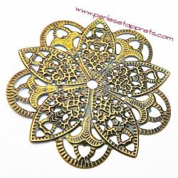 Lot 6 estampes rondes en filigrane en métal bronze laiton 45mm pour bijoux perles et apprêts