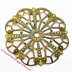 Lot 5 estampes rondes en filigrane en métal bronze laiton 45mm pour bijoux perles et apprêts