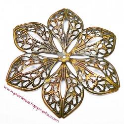 Estampe étoile ronde en filigrane en métal bronze laiton 6cm pour bijoux perles et apprêts