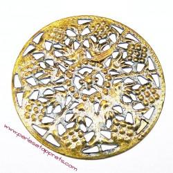 Estampe ronde en filigrane en métal bronze laiton 48mm pour bijoux perles et apprêts