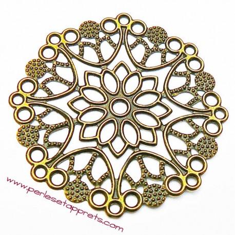 Lot 5 estampes rondes en filigrane en métal bronze laiton 5cm pour bijoux perles et apprêts