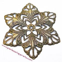 Lot 6 estampes étoile ronde en filigrane en métal bronze laiton 57mm pour bijoux perles et apprêts