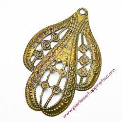 Estampe ovale en filigrane en métal bronze laiton 6cm pour bijoux perles et apprêts