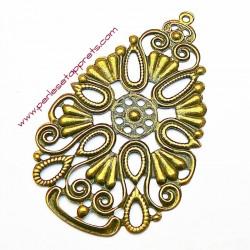 Estampe ovale en filigrane en métal bronze laiton 68mm pour bijoux perles et apprêts