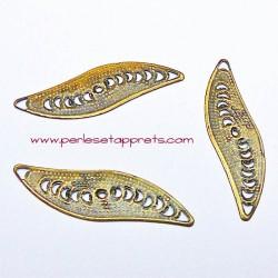 Lot 10 estampes connecteur ovale en filigrane en métal bronze laiton 33mm pour bijoux perles et apprêts