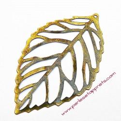 Estampe en filigrane feuille en métal bronze laiton 55mm pour bijoux perles et apprêts